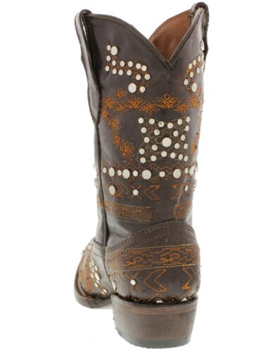 Veretta Kids Western Cowboy Boots Brown Leather Studded Embroidered Snip Toe