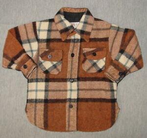Vintage-Boy-039-s-Wool-Shirt-Montgomery-Ward-Size-3-Browns-Plaid-Child-S01