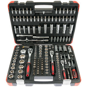 Steckschluessel-Satz-172-tlg-Set-Knarrenkasten-Ratschen-Kasten-1-2-Kfz-Werkzeug