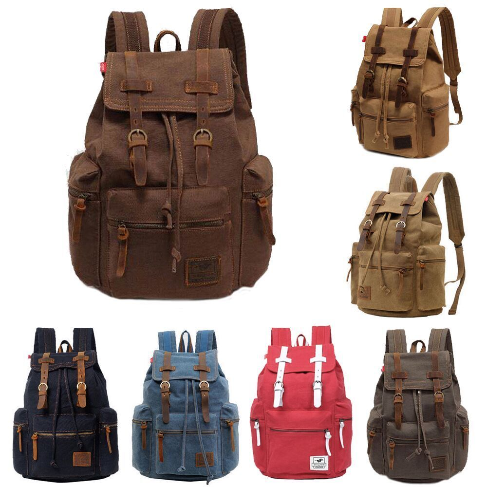 Retro Vintage Canvas Backpack Rucksack Travel Sports Satchel School Hi... - s l1600