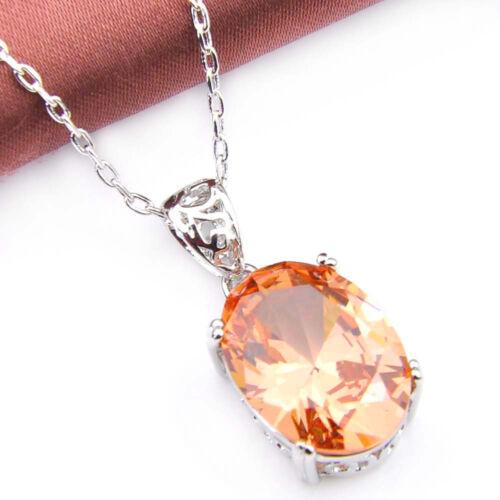 Oval Cut Miel Naturel Morganite gemme Argent collier pendentif avec chaîne