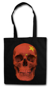 CLASSIC CHINA SKULL FLAG STOFFTASCHE Flagge Schädel Banner Fahne