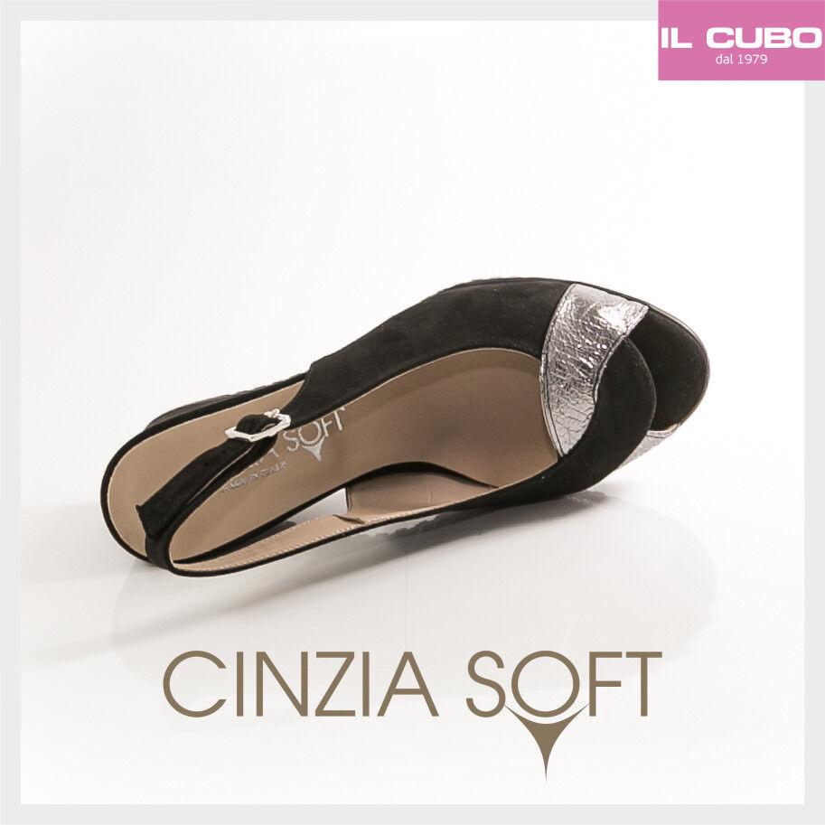 CINZIA SOFT SANDALO SCARPA Damens CAMOSCIO COLORE NERO ZEPPA H 7 CM MADE IN ITALY