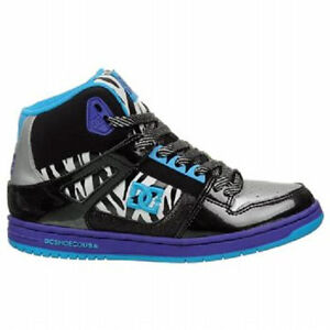 090bf983c75 Image is loading DC-Shoes-Rebound-High-womens-skate-shoes-ZEBRA-