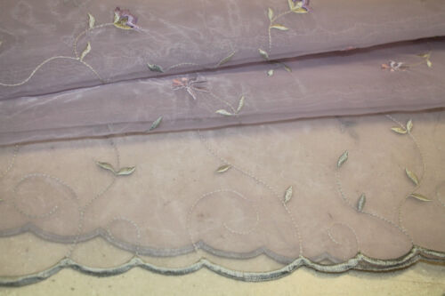 New Floral Organza Scalloped Embroidery Bridal Costume Curtain Fabric Material