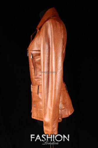 Ladies /'PRAGUE/' Tan Washed Lambskin RETRO 70/'s SEVENTIES Designer Leather Jacket