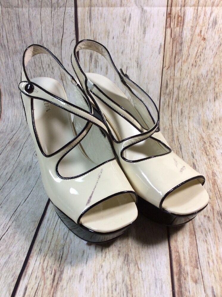 JL PRADA 40 WEDGE Schuhe PATENT SIZE 40 PRADA US 7.5 de2f9d