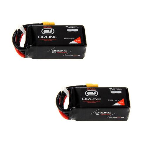Venom 50C 3S 850mAh 11.1V Drone Racing LiPo with Universal 2.0 Plug x2 Packs