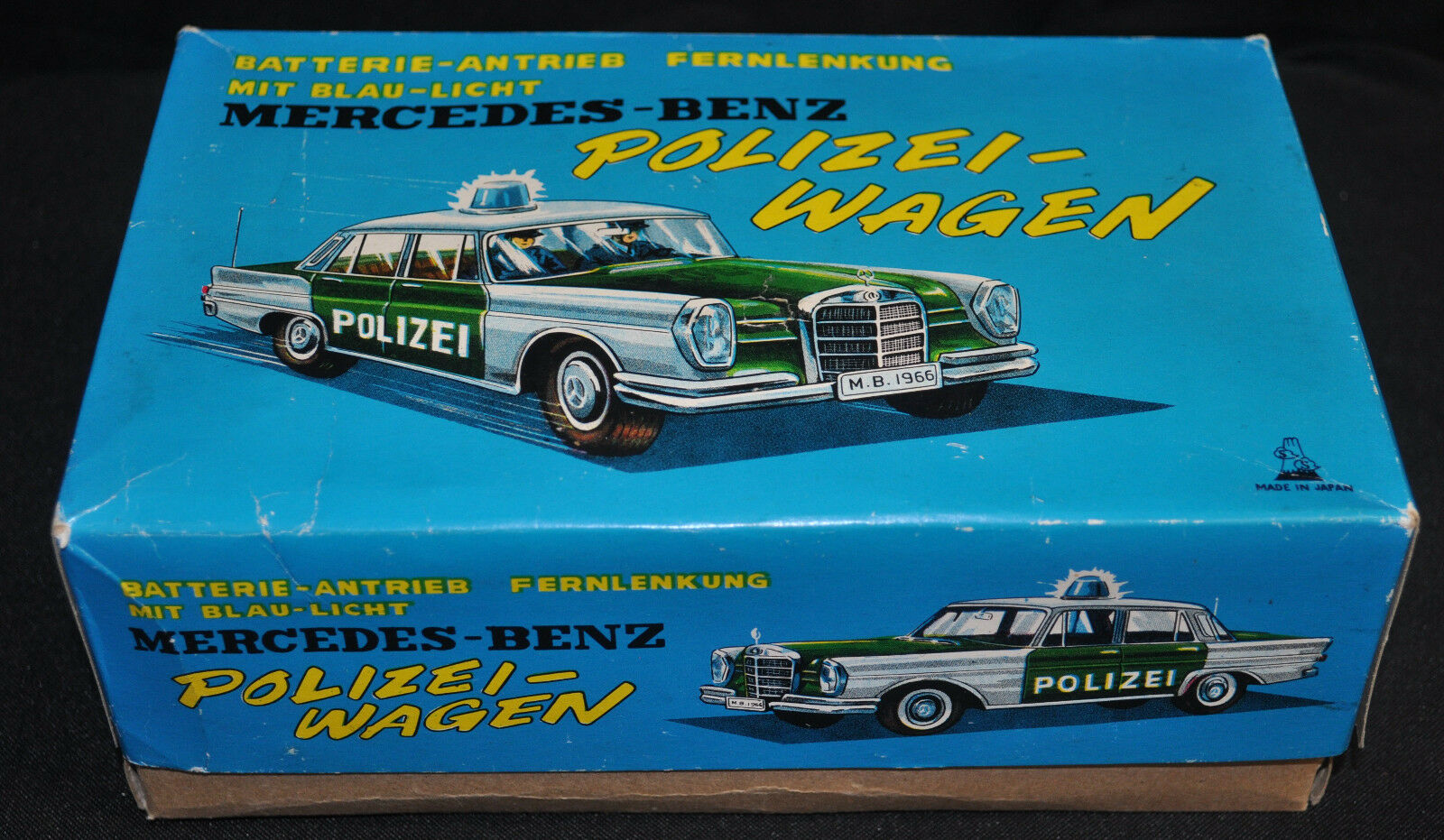 Mercedes Benz Polizei Wagon 6  Batt Op Remote Control Mint in Box (1960s) ITB WH