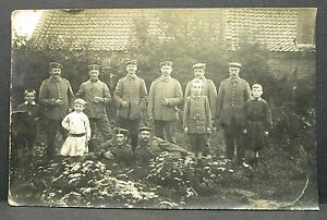 Bavarian-Army-Corps-Soldiers-with-Children-1916-WK1-Field-post-Card-WW1-Y-2675