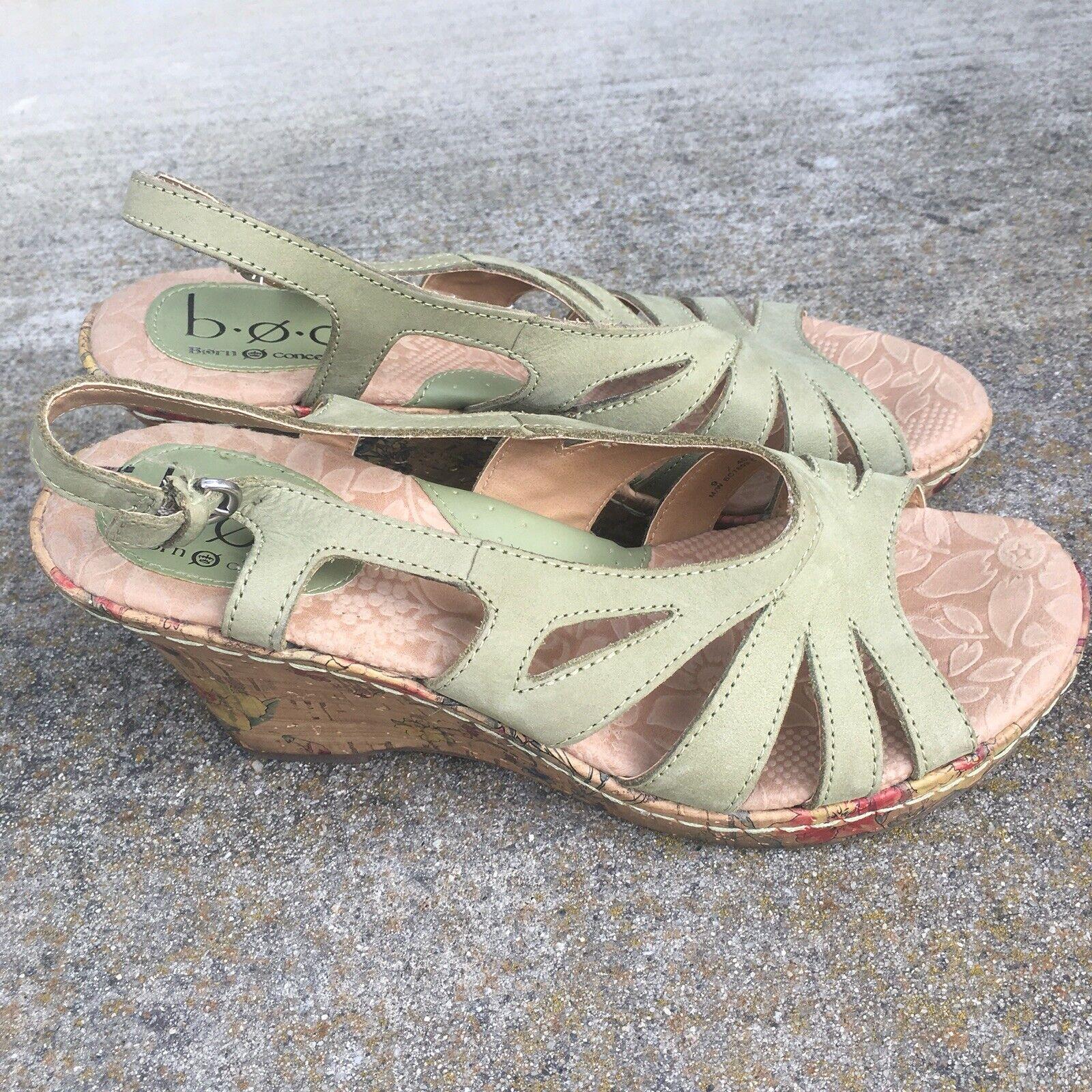 BOC BORN Women Mint Green Leather Wedge 3.5  Strap Sling Back Sandal shoes Sz 9