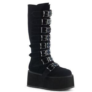 Demonia DAMNED-318 Black Velvet Platform Knee High Boot w/ 8 Buckle Straps