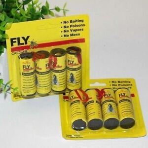 4-Rolls-Insect-Bug-Fly-Glue-Paper-Catcher-Trap-Ribbon-Tape-Sticky-Strip-Fl-UKPL