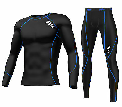 FDX Mens Compression Armour Base layer Top Skin Fit Shirt + Leggings set