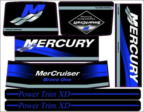MERCRUISER THE NEW BLUE  BRAVO ONE  W//BLUE RAMS STICKER SET