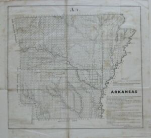 Details about Original 1854 Survey Map ARKANSAS Choctaw Cherokee Boundaries  Overflowed Lands