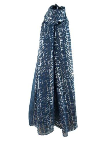 Fabulous METALLIC SCARF Shiny Foil Glitter Wave Print Soft Viscose Stole Wrap