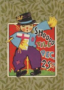 ANTIQUE-SCARECROW-SHOOO-XMAS-CHRISTMAS-STICKER-SMALL-ART-COLOR-ACEO-SIZE-PRINT
