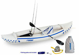 SEA-EAGLE-370-SPORT-FISHING-KAYAK-PACKAGE-PADDLE-SEAT-PUMP-STORE-BOX-ROD-HOLDER