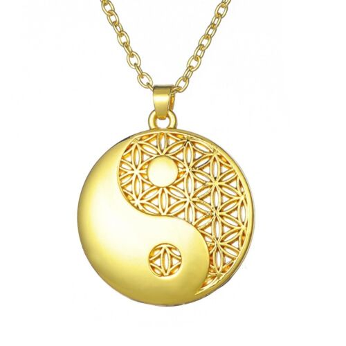 Flower of Life Yin Yang Necklace Mandala Pendant Chain Cord Silver Rose Gold