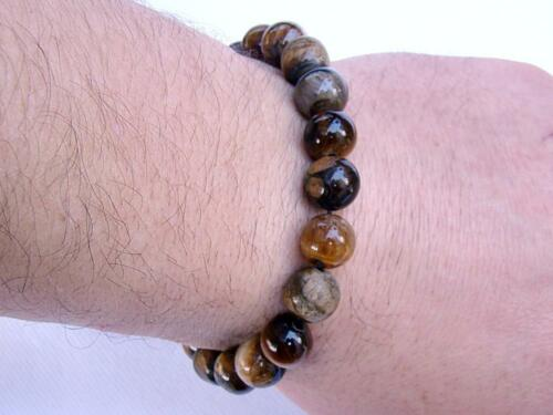 Men/'s GEMSTONE Shamballa bracelet all 10mm TIGER EYE BEADS