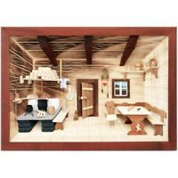 German 3d Wooden Shadow Box Picture Diorama Old Fashioned Farm Kitchen Scene
