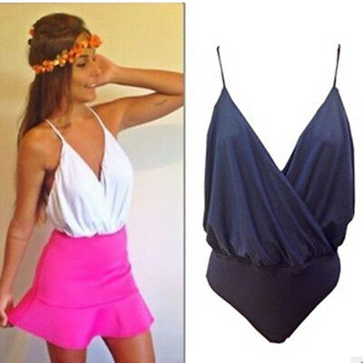 Women Spaghetti Strap Jumpsuit Backless Bodysuit Strappy Body Tops Club Playsuit
