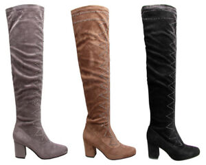Ladies-Over-The-Knee-Boots-Thigh-High-Womens-Diamante-Studded-Block-Heels-Shoes