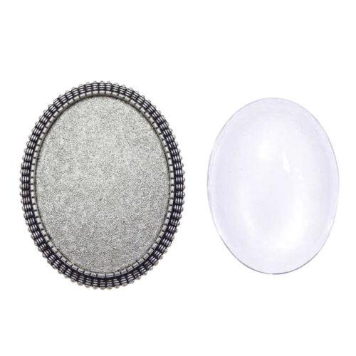 1 Juego De Aleación De Plata Redondo Oval Bisel Ajuste Broche Pin Joyería Accesorios de bricolaje