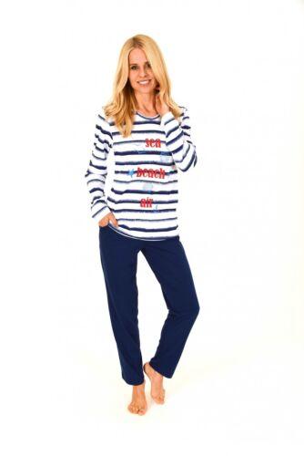 60670 Toller Damen Pyjama langarm in maritimer Streifenoptik