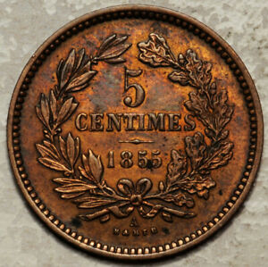 LUXEMBOURG-5-CENTIMES-1855-HIGH-GRADE