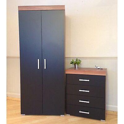 2 Door Wardrobe & 4 Drawer Chest in Black & Walnut Bedroom Furniture Set * NEW *