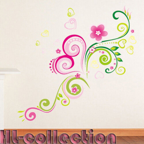 Flower Romantic Wall Decor For Living Vinyl Decal Stickers Removable WB07