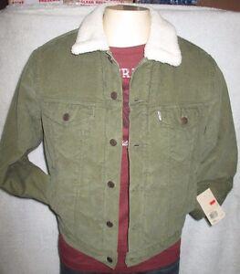 New Levi S Men S Corduroy Button Up Green Sherpa Fur Jacket