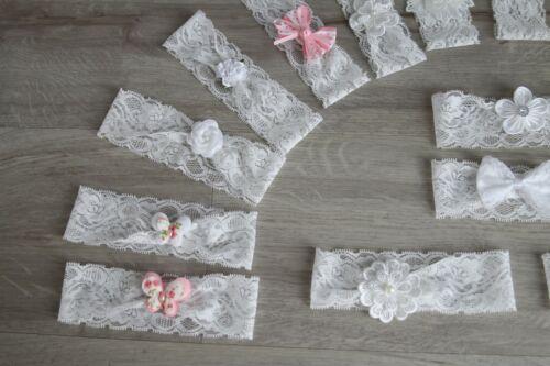 breites Stirnband Lace Blume Spitzen Band Taufe Haarband Kopfband Schleife straß