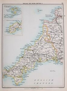Map Of England Cornwall.Details About 1894 Map South West England Cornwall Scilly Isles Falmouth Helston Bideford