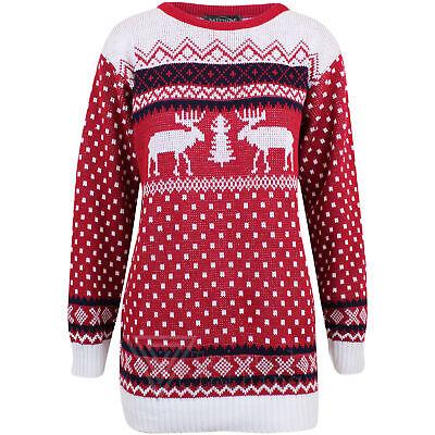 Mens Womens Christmas Knitted Unisex Reindeer Fairisle Pullover Sweater Jumper