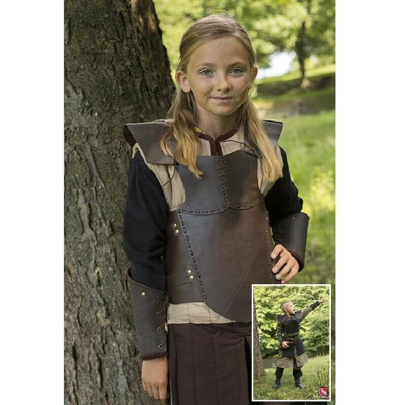 Small Leather Torso Armour with Adjustable Buckled Straps. Ideal for LARP