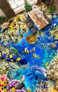 3D Coral Turtle  643  Floor WallPaper Murals Wall Print 5D AJ WALLPAPER UK Lemon