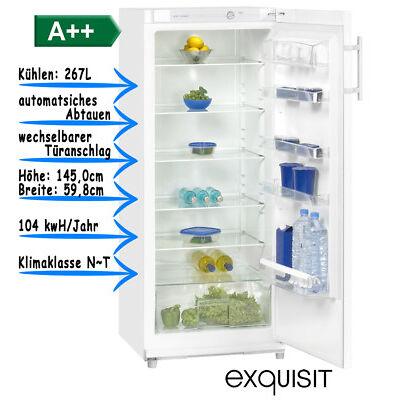Vollraumkühlschrank 267l A++ Weiss Kühlschrank ohne Gefrierfach