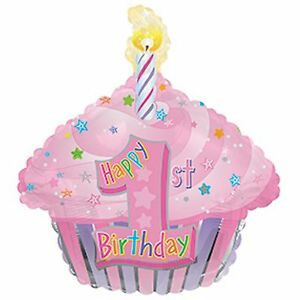 Image Is Loading 1st Birthday Balloon Pink Cake Cupcake Shaped