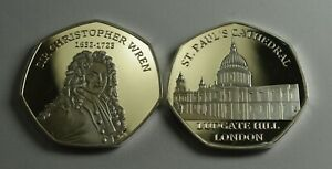 SIR CHRISTOPHER WREN & ST PAUL'S CATHEDRAL Fine Silver Commemorative. Albums