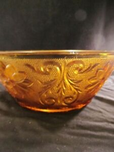 La-Tiara-Exclusive-Amber-Glass-Bowl-With-Embossed-Flowers-Vintage-Indiana-Glass