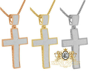 Mens Real Silver 14K Gold Over Simulated Diamond Jesus Cross Curve Pendent Charm