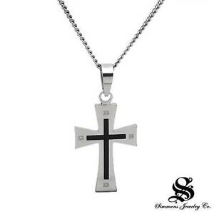 Simmons new cross necklace with genuine diamonds in black enamel and image is loading simmons new cross necklace with genuine diamonds in aloadofball