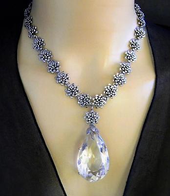 Vintage HUGE Genuine Quartz Sterling Silver Necklace