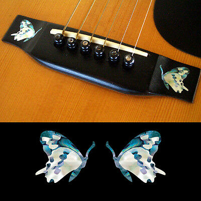 Guitar Bridge Inlay Stickers Decals Butterfly (Abalone Blue) 2pcs/set