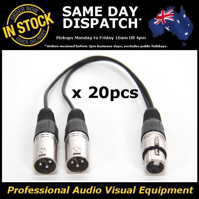 20x Y Adapter One 1 x Female to Two 2 x Male XLR Splitter Cable Lead Dual DMX