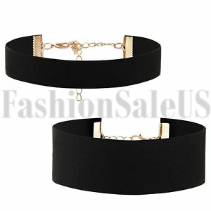 2pcs-Gothic-Black-Wide-Retro-Velvet-Choker-Collar-Bib-Necklace-Charm-Pendant-New
