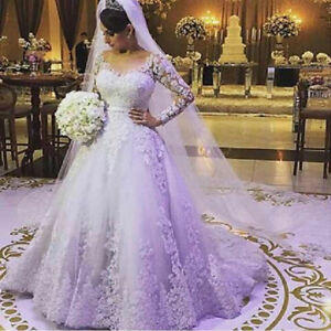 Details about Wedding Dresses V neck Lace Bride Bridal Ball Gown Plus Size  Long Sleeve Custom